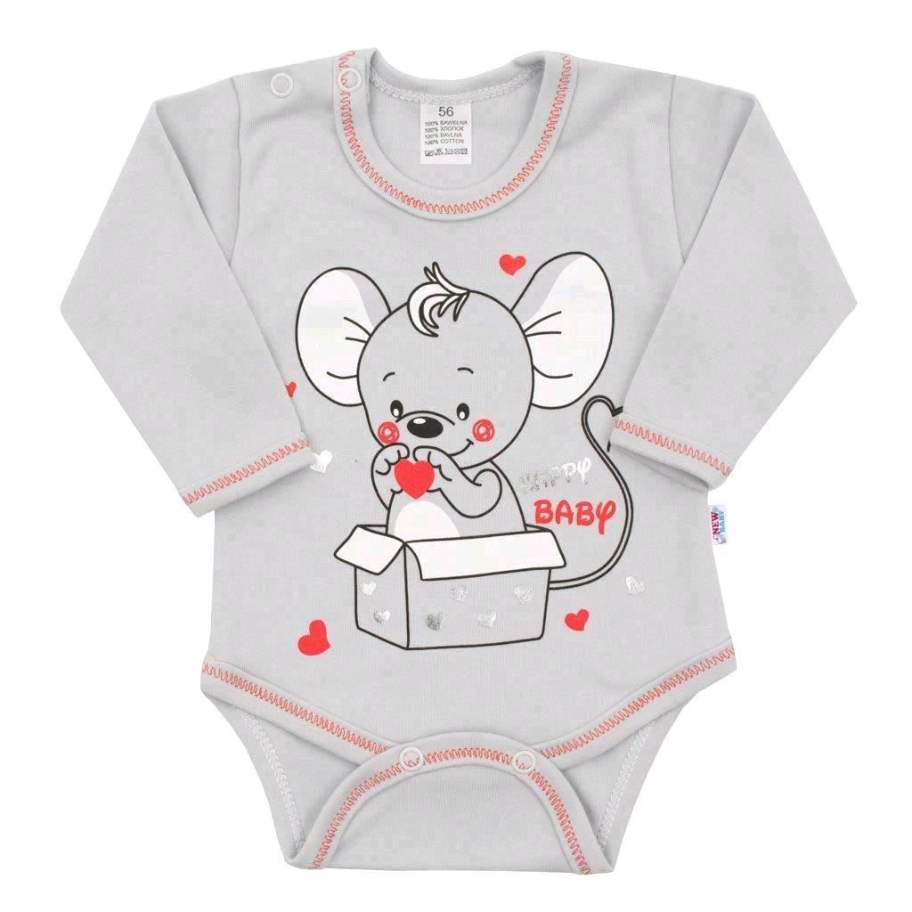 Dojčenské body s dlhým rukávom New Baby Mouse sivé-74 (6-9m)