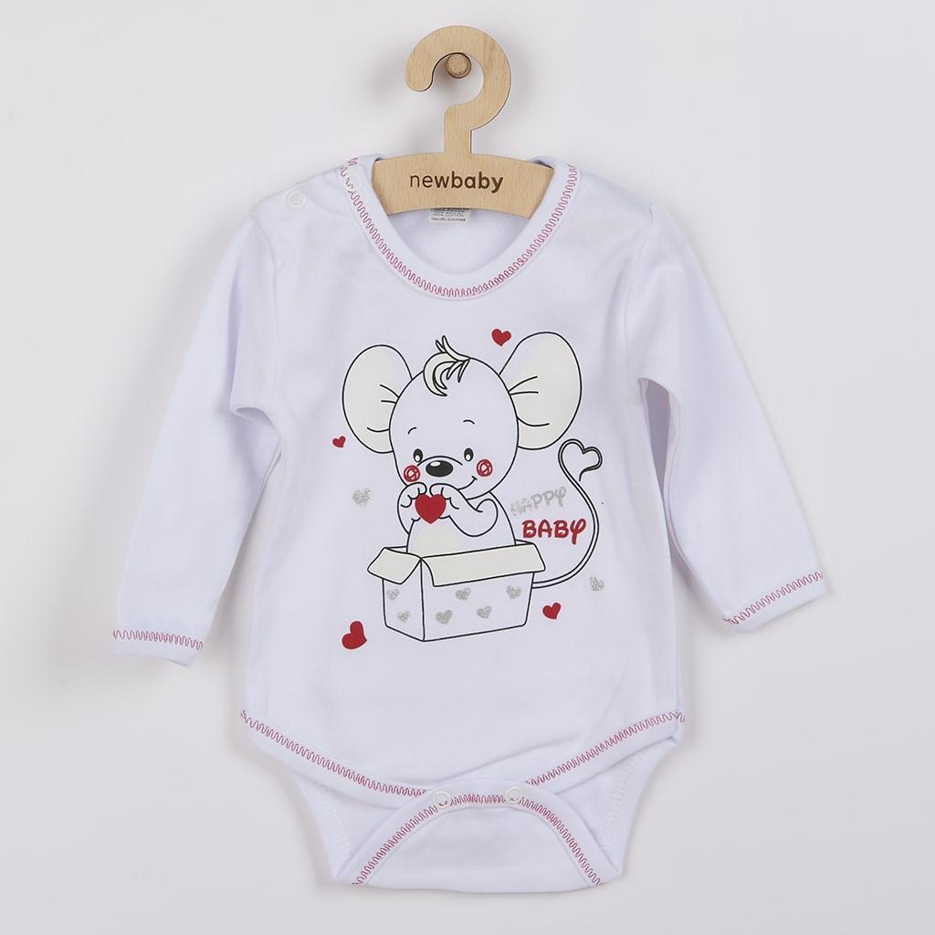 Dojčenské body s dlhým rukávom New Baby Mouse biele