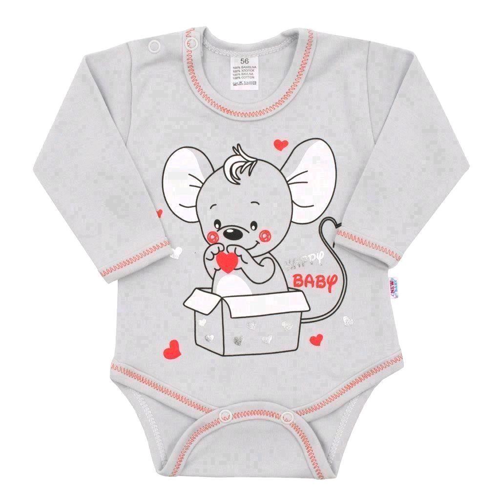 Dojčenské body s dlhým rukávom New Baby Mouse sivé-86 (12-18m)