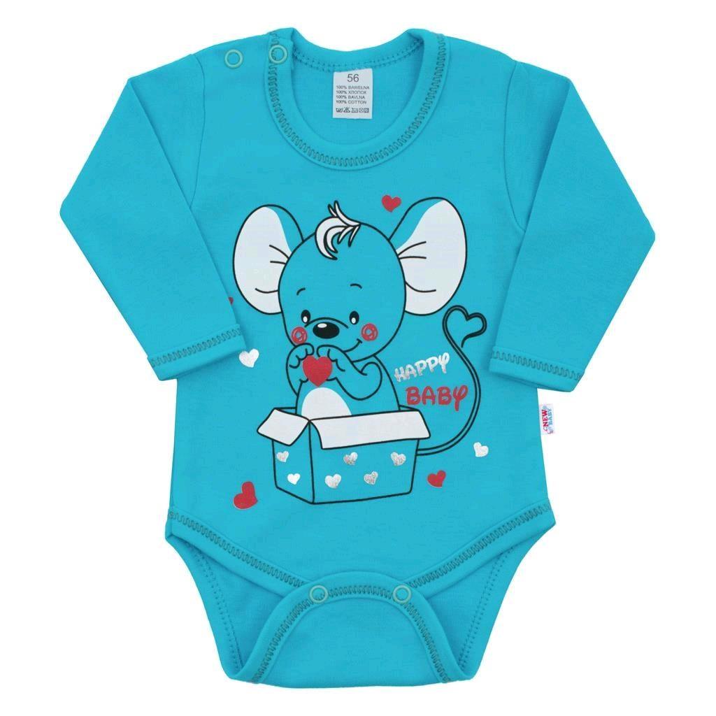 Dojčenské body s dlhým rukávom New Baby Mouse tyrkysové