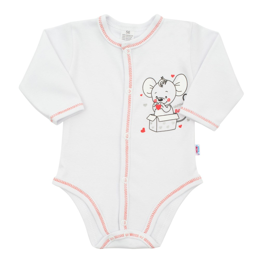 Dojčenské celorozopínacie body New Baby Mouse biele-56 (0-3m)