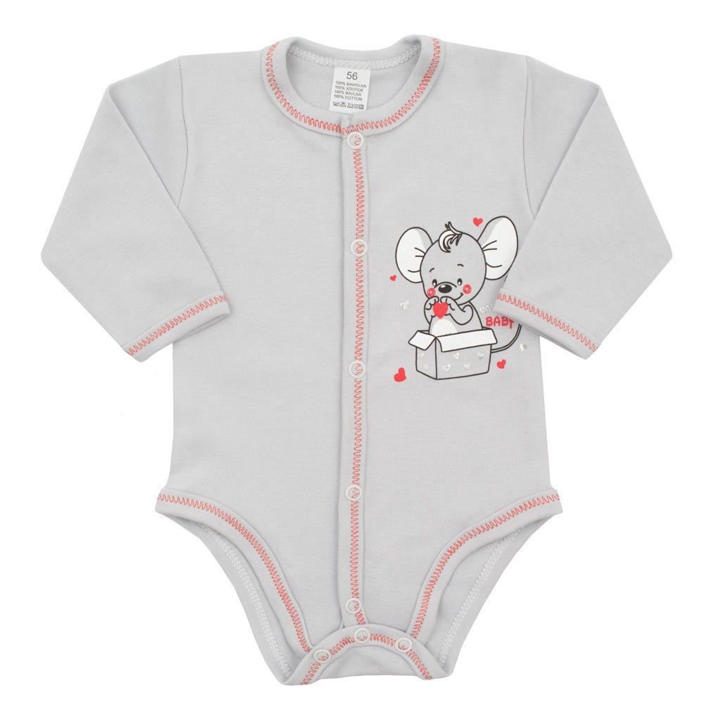 Dojčenské celorozopínacie body New Baby Mouse sivé-56 (0-3m)