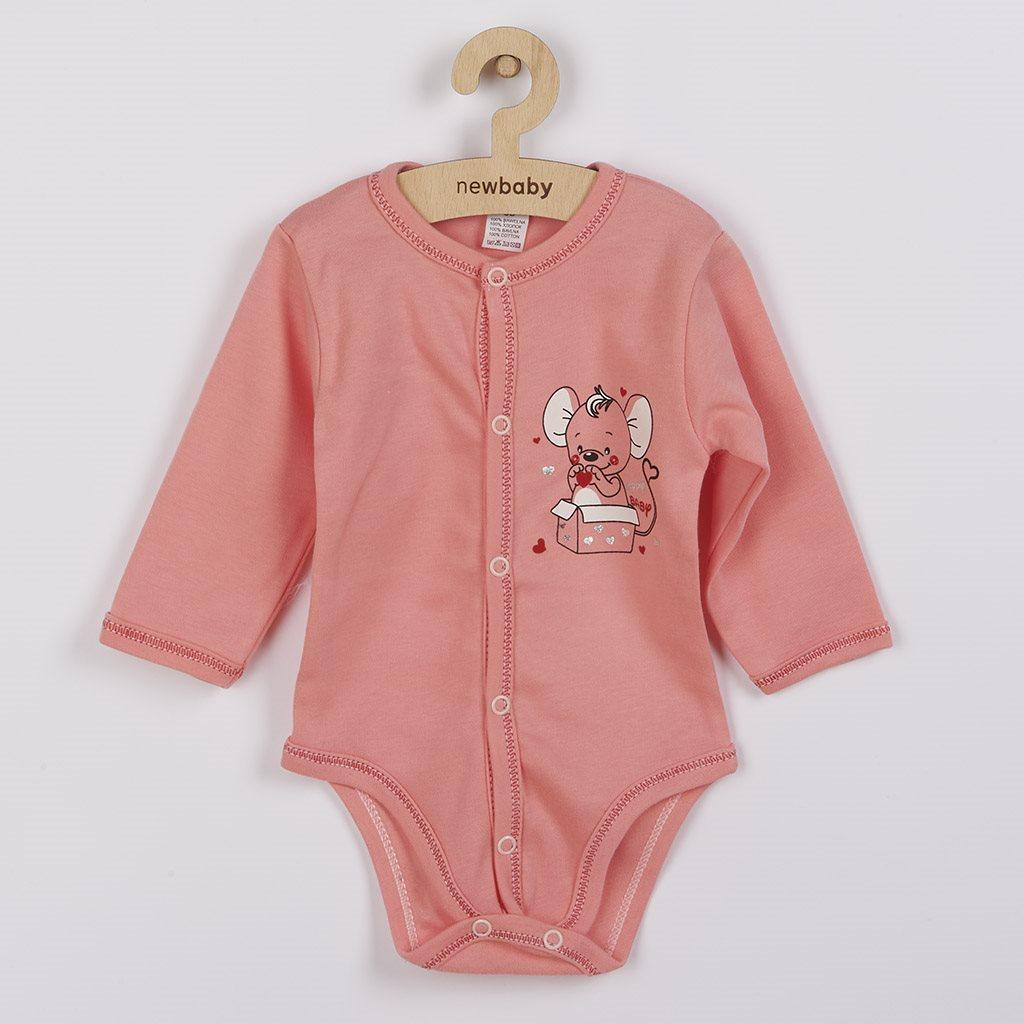 Dojčenské celorozopínacie body New Baby Mouse lososové-56 (0-3m)