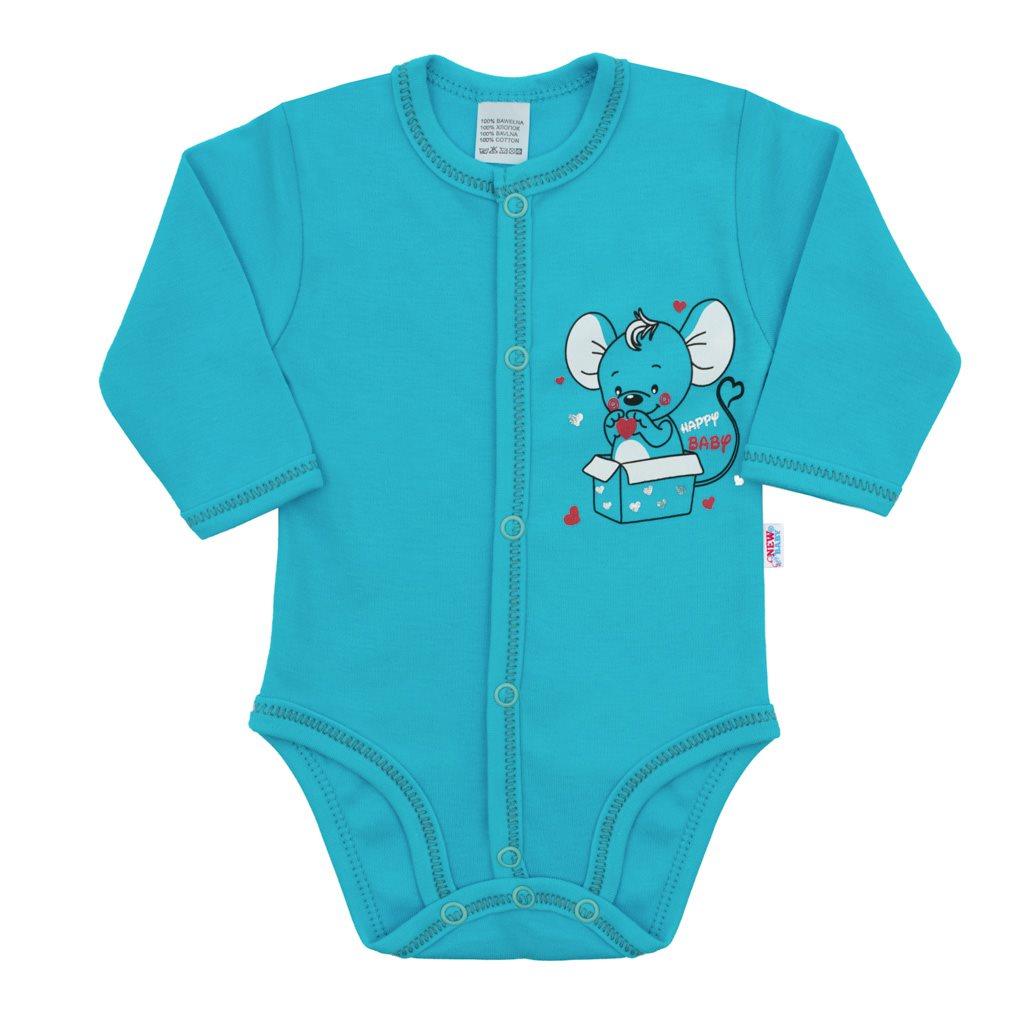 Dojčenské celorozopínacie body New Baby Mouse tyrkysové-56 (0-3m)
