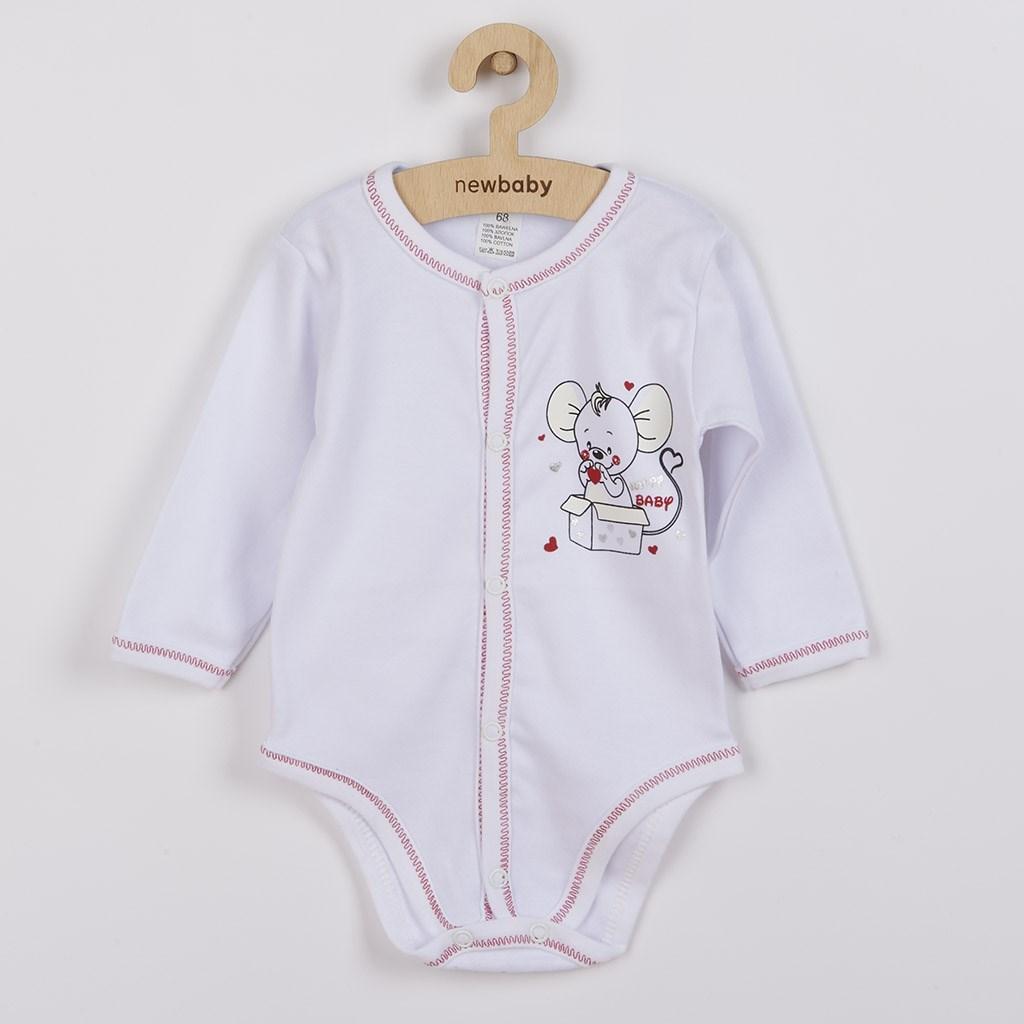 Dojčenské celorozopínacie body New Baby Mouse biele-62 (3-6m)