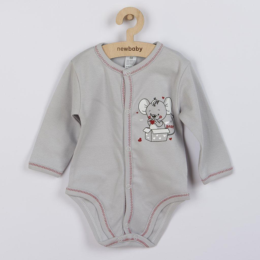 Dojčenské celorozopínacie body New Baby Mouse sivé-62 (3-6m)