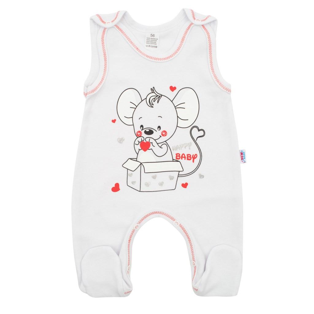 Dojčenské dupačky New Baby Mouse biele-56 (0-3m)
