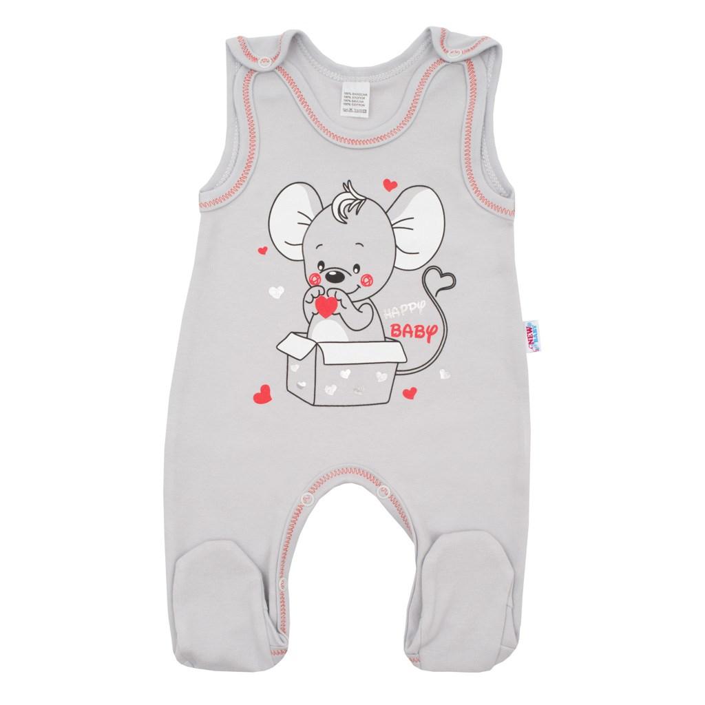 Dojčenské dupačky New Baby Mouse sivé-56 (0-3m)