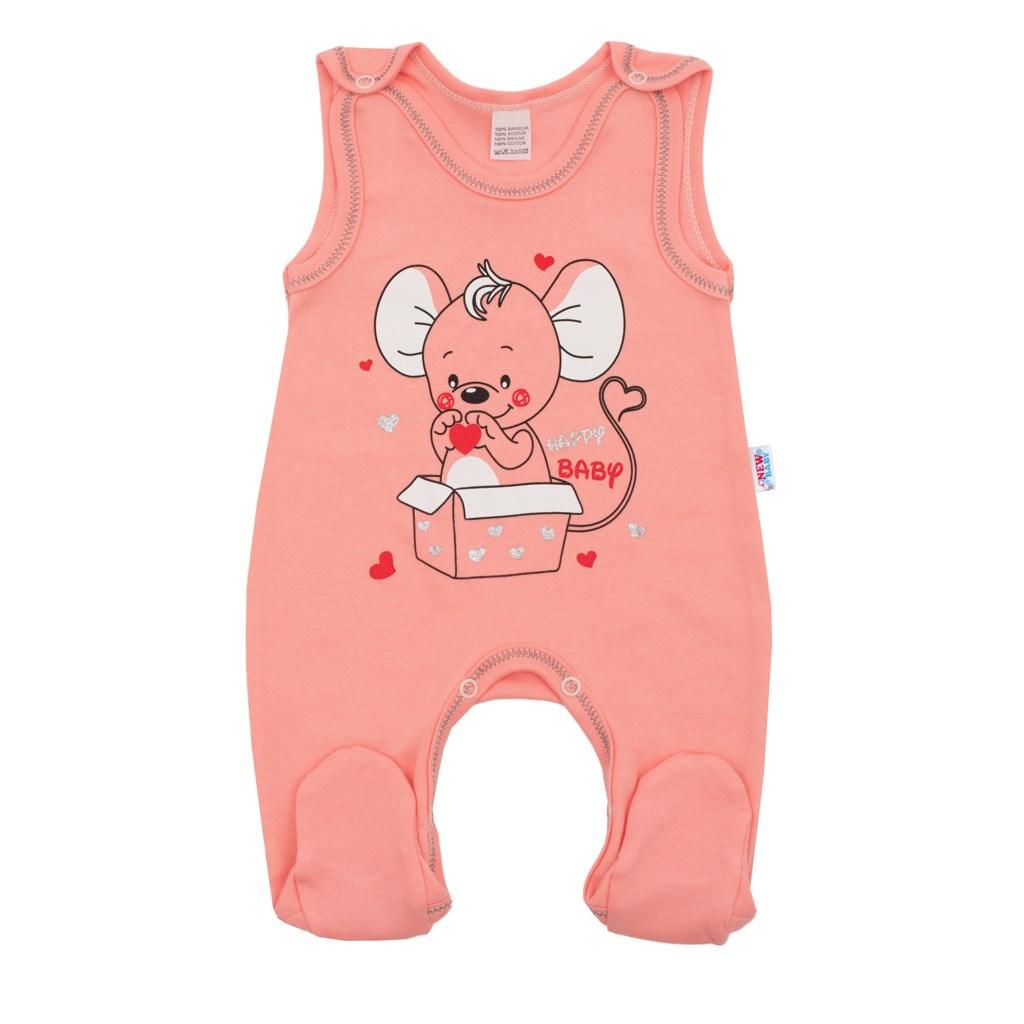 Dojčenské dupačky New Baby Mouse lososové-56 (0-3m)