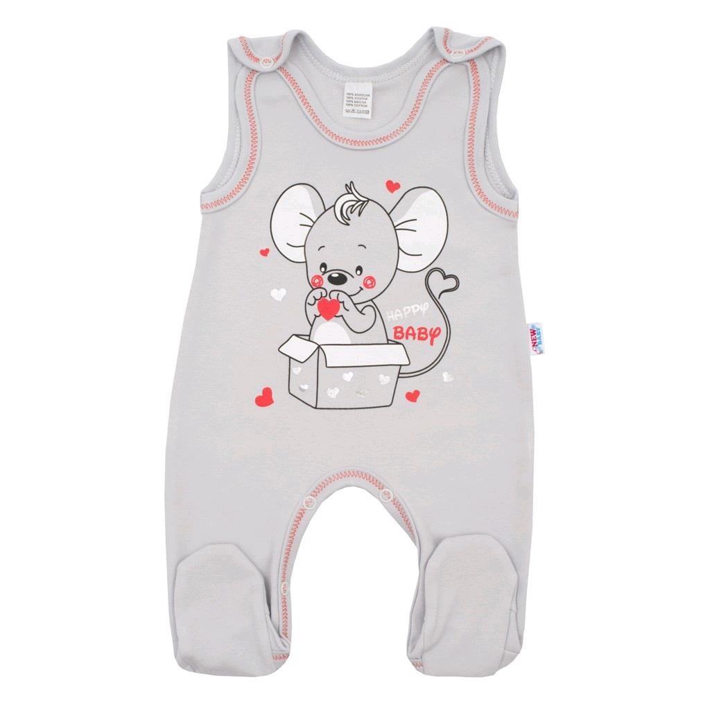 Dojčenské dupačky New Baby Mouse sivé-62 (3-6m)