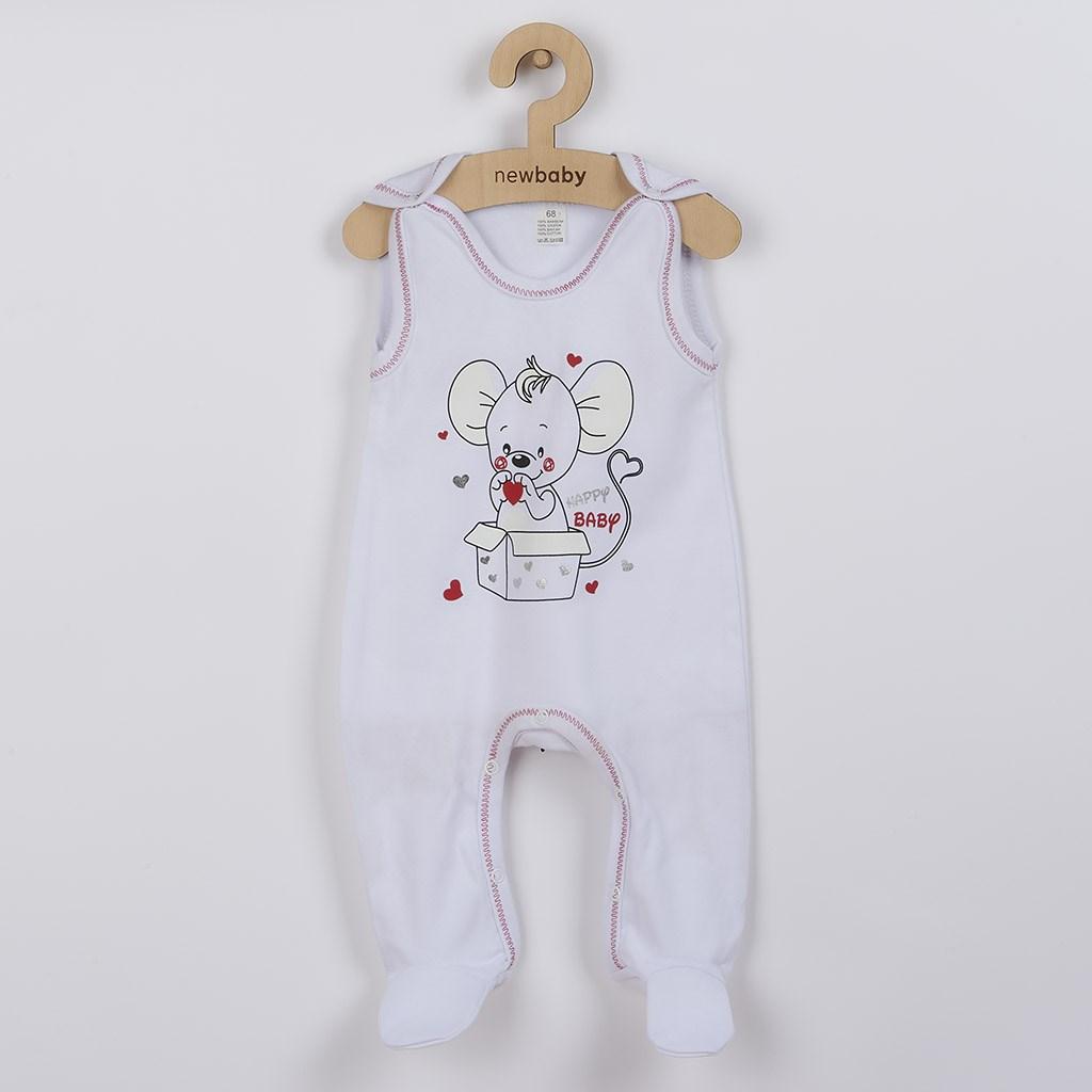 Dojčenské dupačky New Baby Mouse biele-68 (4-6m)