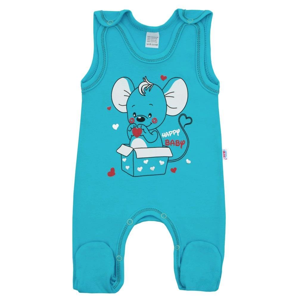 Dojčenské dupačky New Baby Mouse tyrkysové-68 (4-6m)