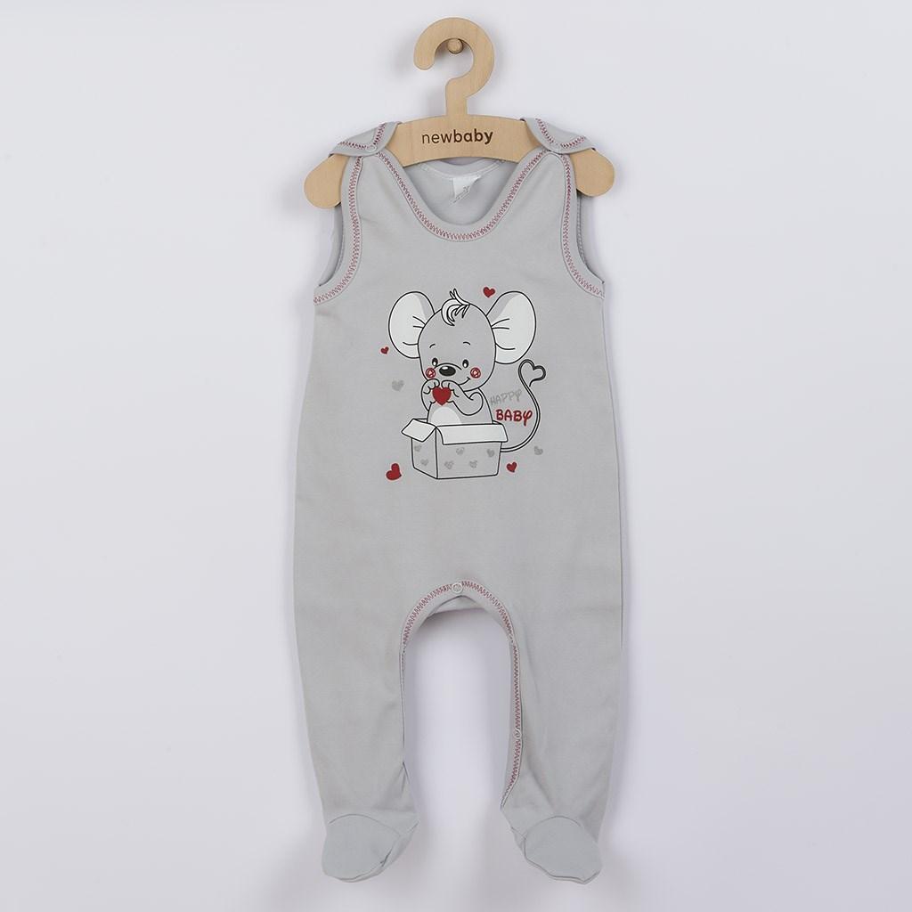 Dojčenské dupačky New Baby Mouse sivé-74 (6-9m)