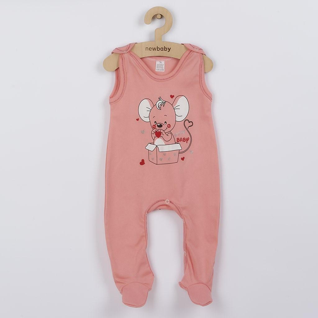 Dojčenské dupačky New Baby Mouse lososové-74 (6-9m)
