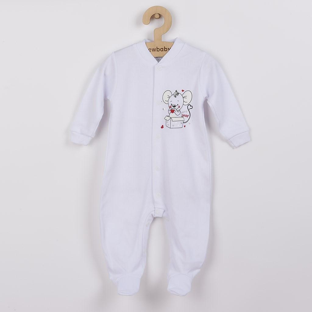Dojčenský overal New Baby Mouse biely-68 (4-6m)