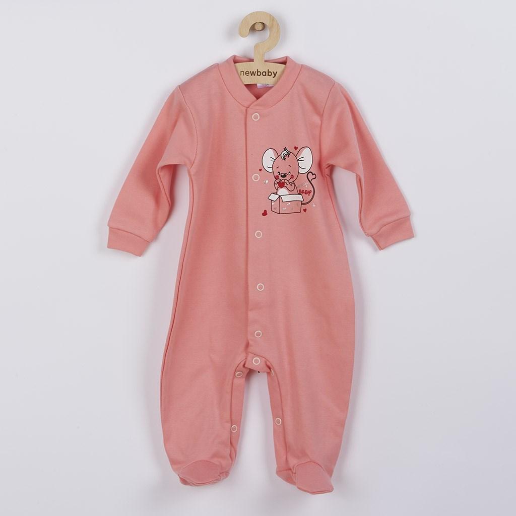 Dojčenský overal New Baby Mouse lososový-68 (4-6m)