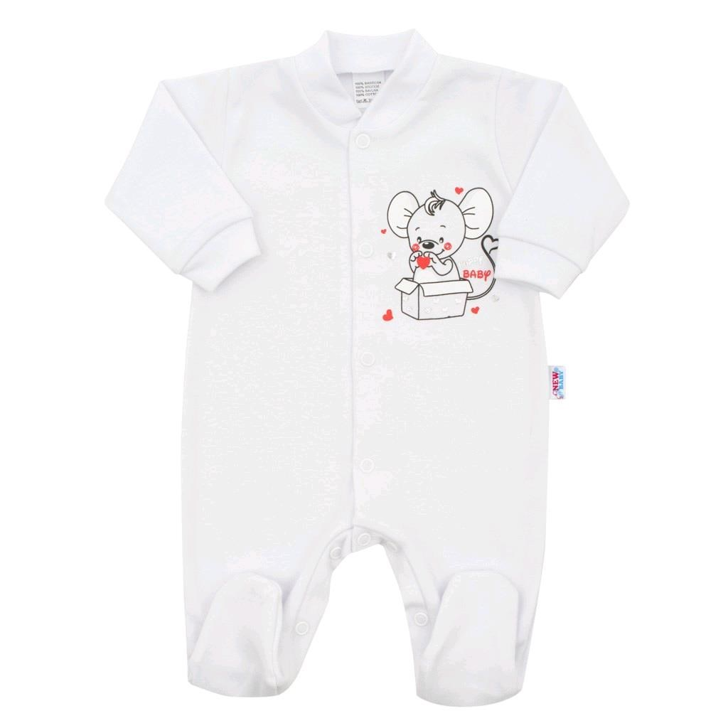 Dojčenský overal New Baby Mouse biely