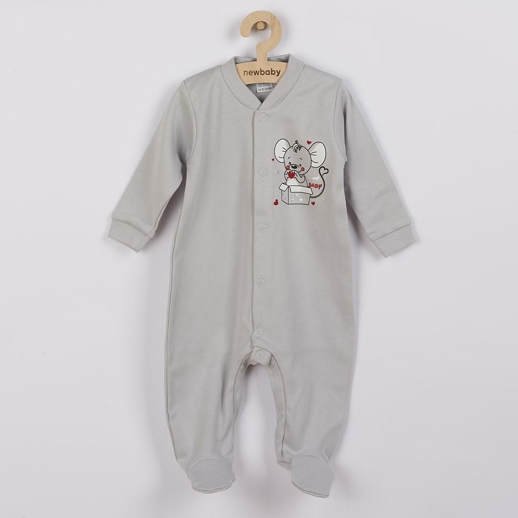 Dojčenský overal New Baby Mouse sivý-74 (6-9m)