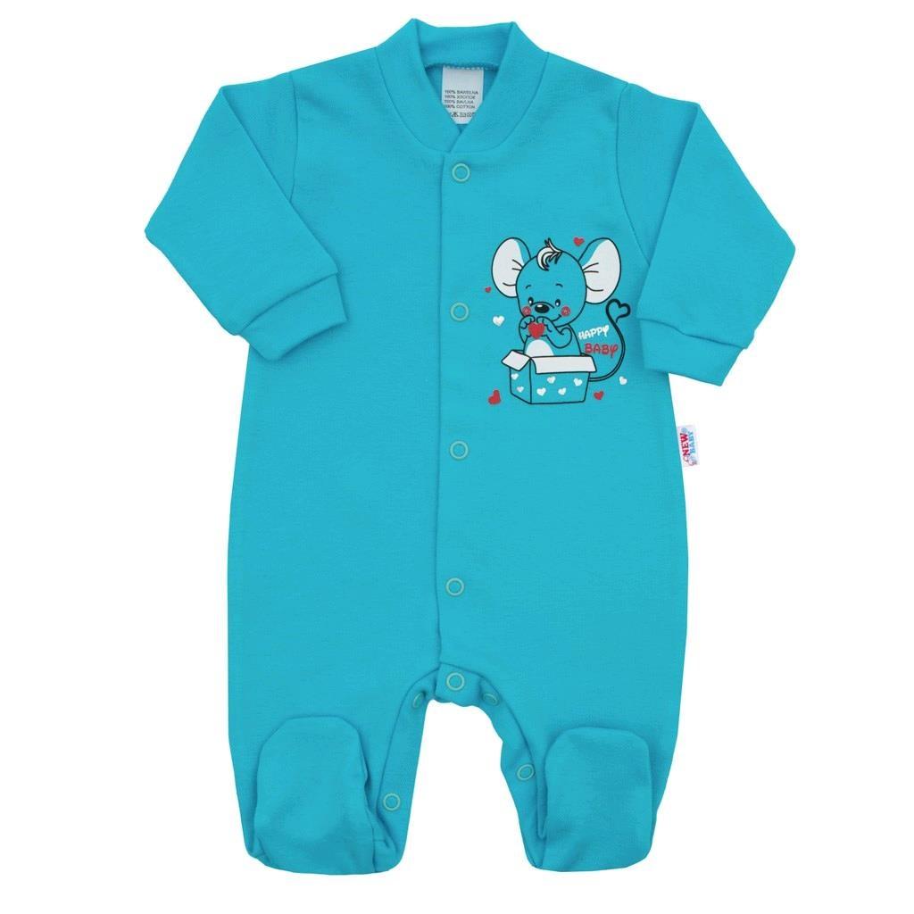 Dojčenský overal New Baby Mouse tyrkysový