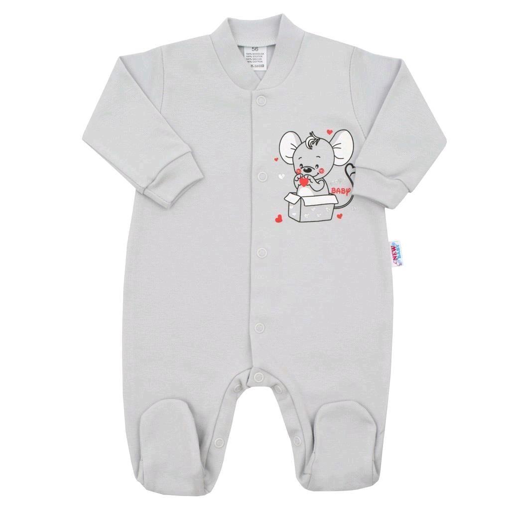 Dojčenský overal New Baby Mouse sivý-80 (9-12m)