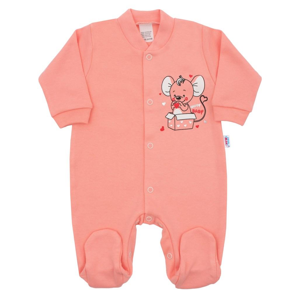 Dojčenský overal New Baby Mouse lososový-86 (12-18m)