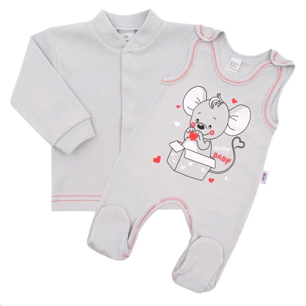 Dojčenská súpravička New Baby Mouse sivá