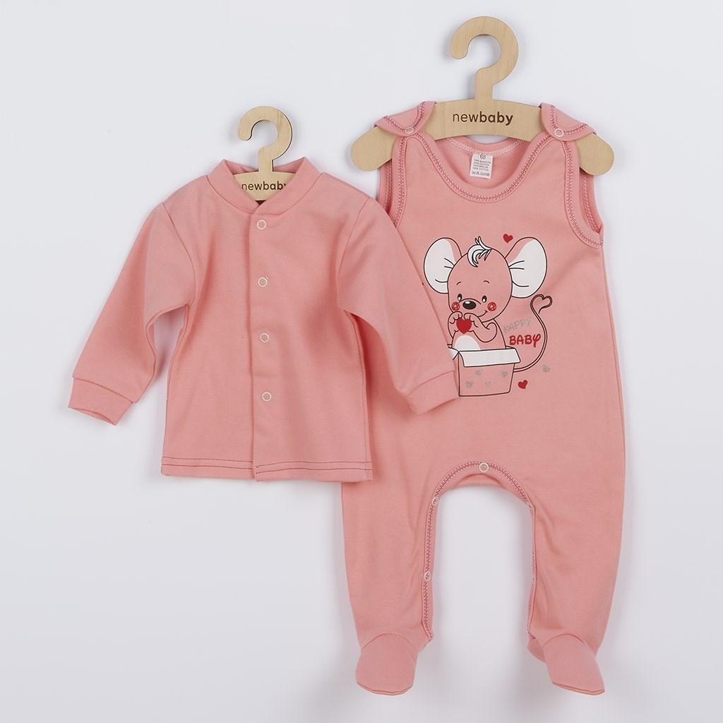 Dojčenská súpravička New Baby Mouse lososová-68 (4-6m)