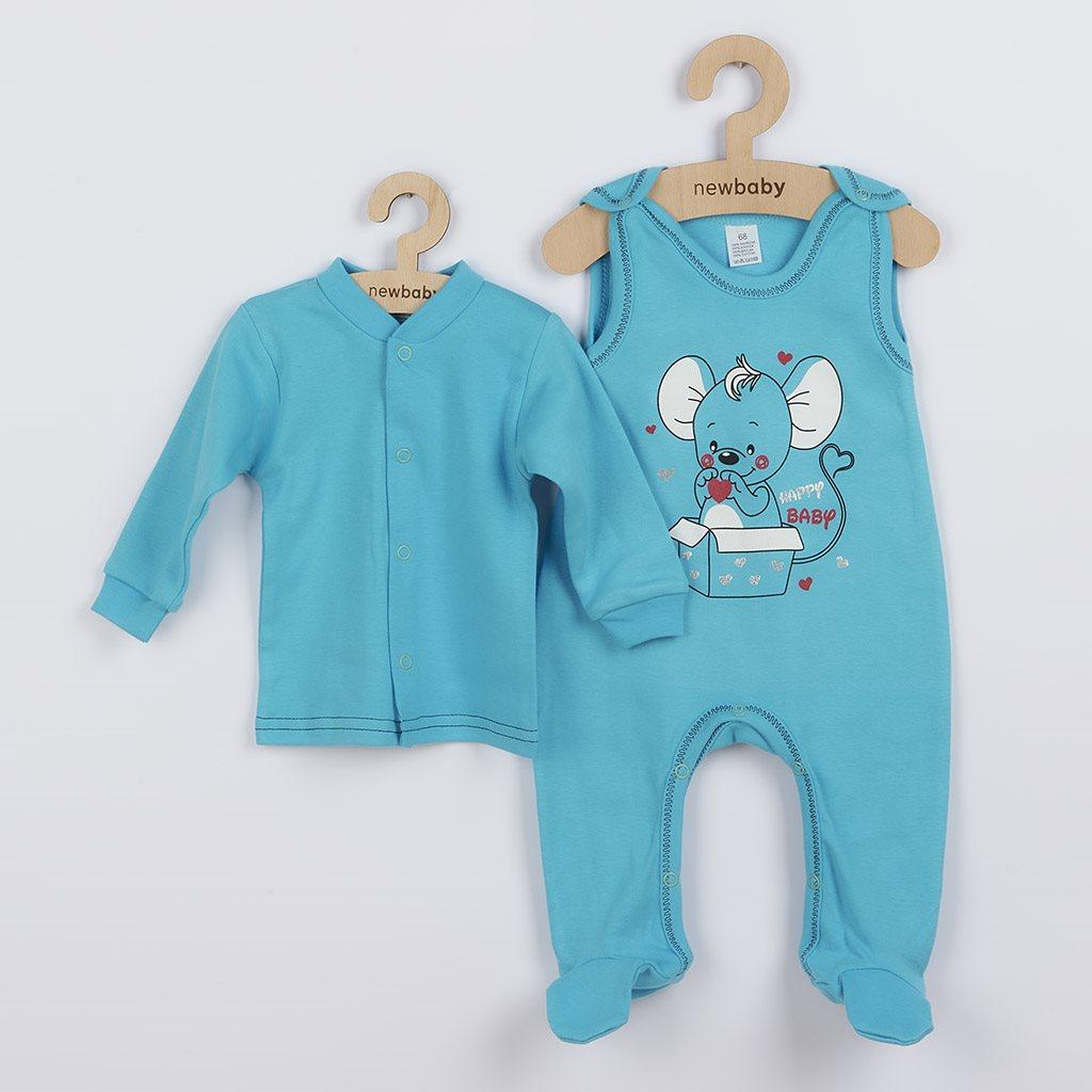 Dojčenská súpravička New Baby Mouse tyrkysová-68 (4-6m)