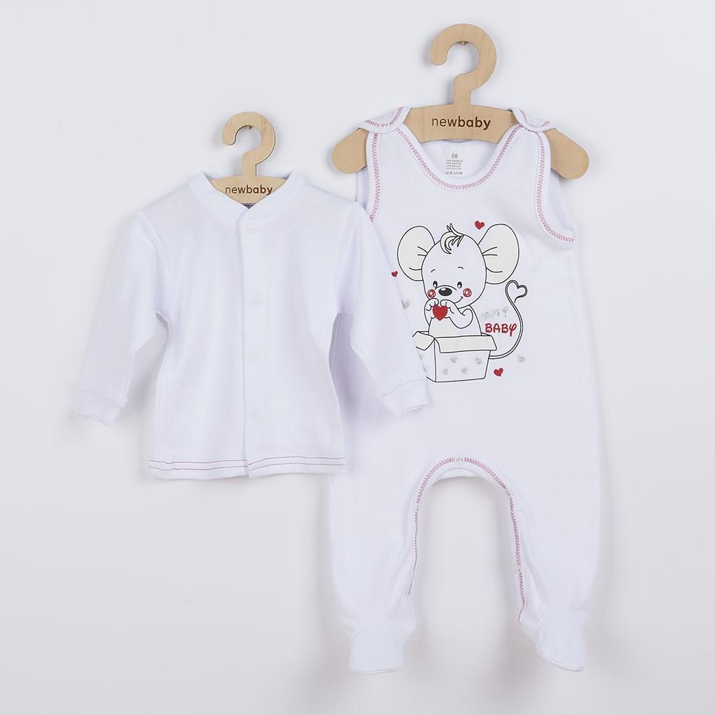 Dojčenská súpravička New Baby Mouse biela-86 (12-18m)