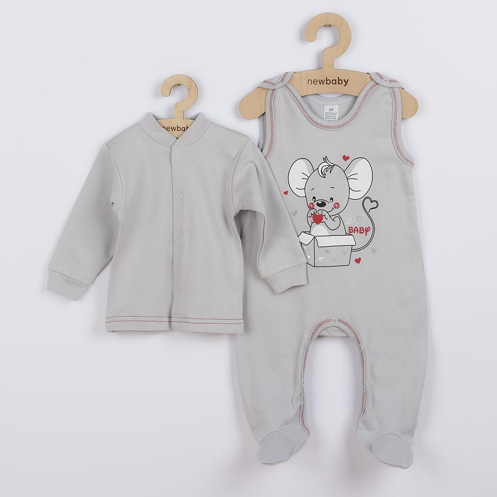 Dojčenská súpravička New Baby Mouse sivá-86 (12-18m)
