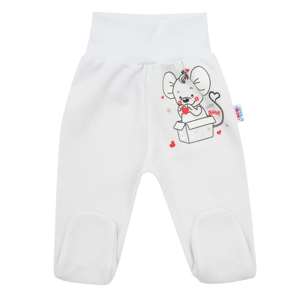 Dojčenské polodupačky New Baby Mouse biele-56 (0-3m)