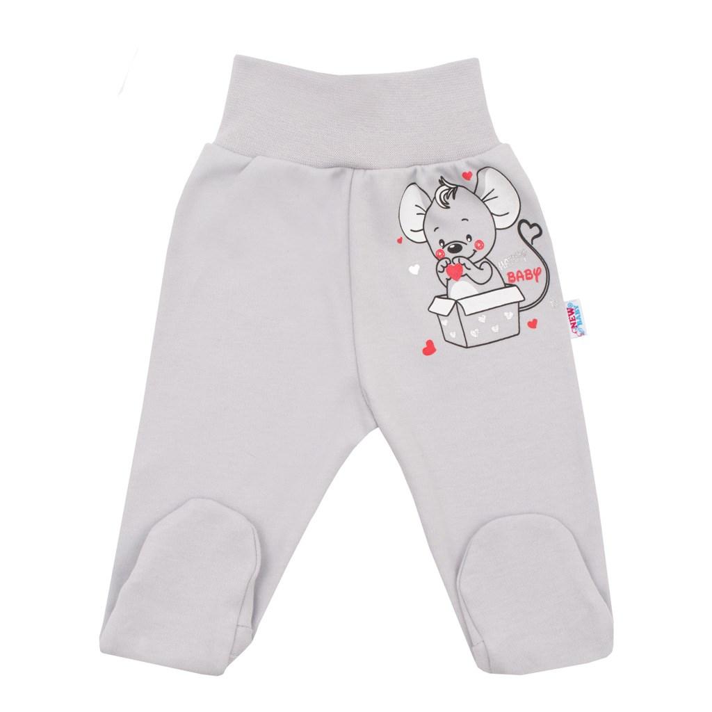 Dojčenské polodupačky New Baby Mouse sivé-56 (0-3m)