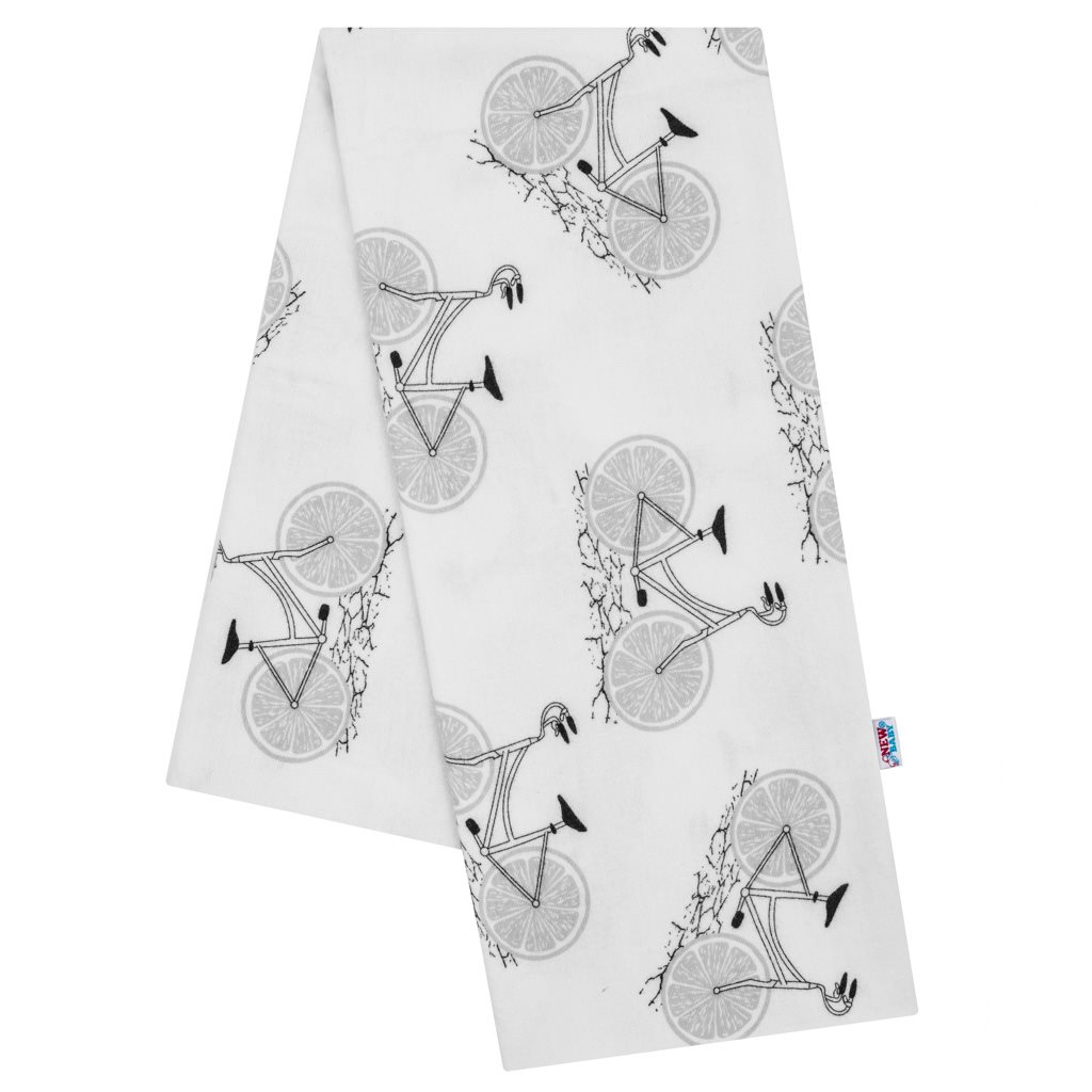 Flanelová plienka s potlačou New Baby biela so sivými koly