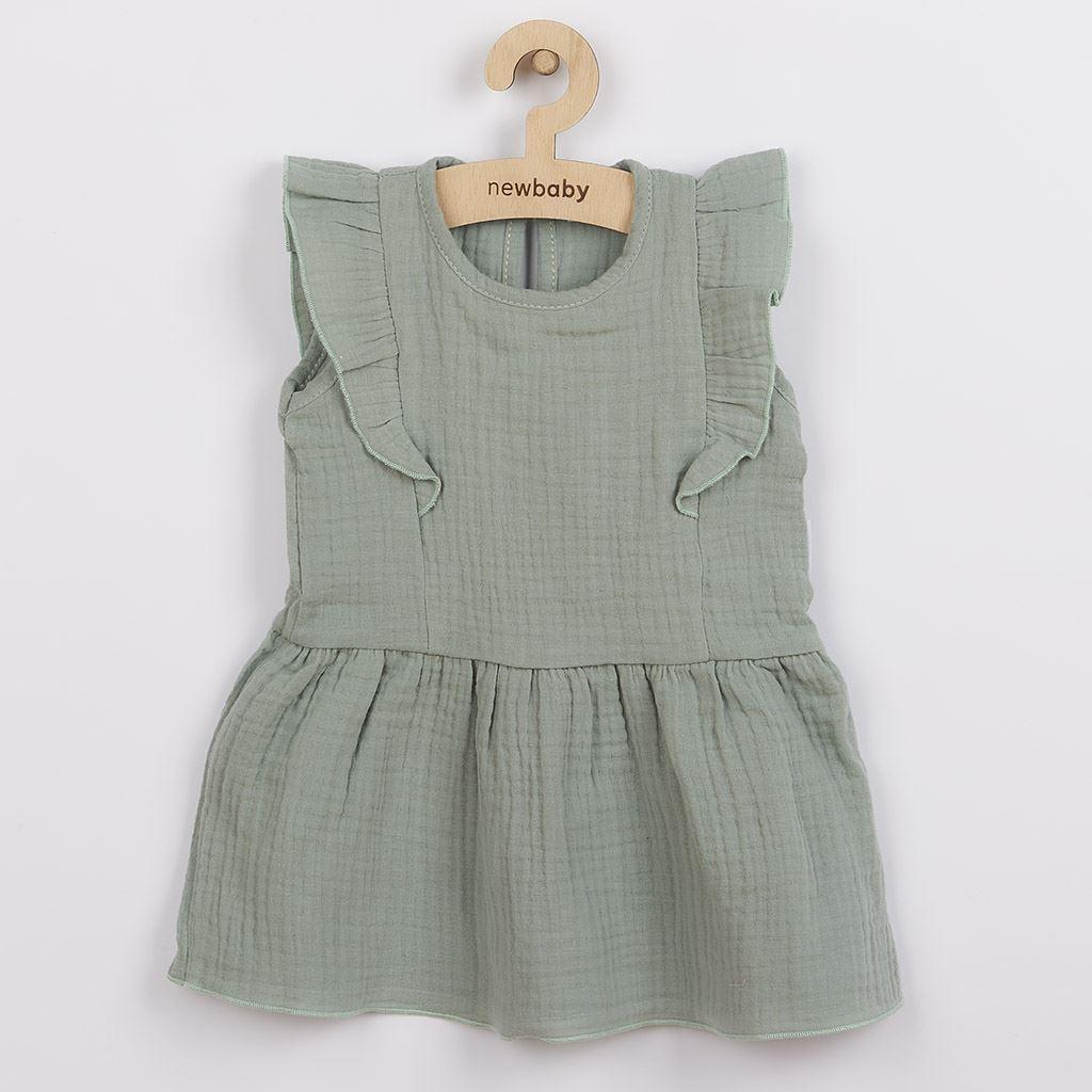 Dojčenské mušelínové šaty New Baby Summer Nature Collection mätové-56 (0-3m)