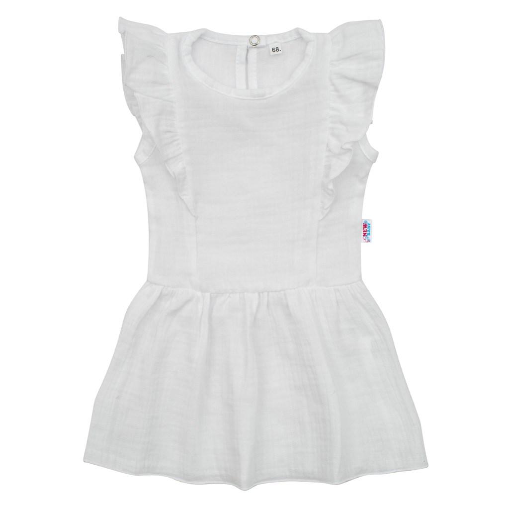 Dojčenské mušelínové šaty New Baby Summer Nature Collection biele-74 (6-9m)