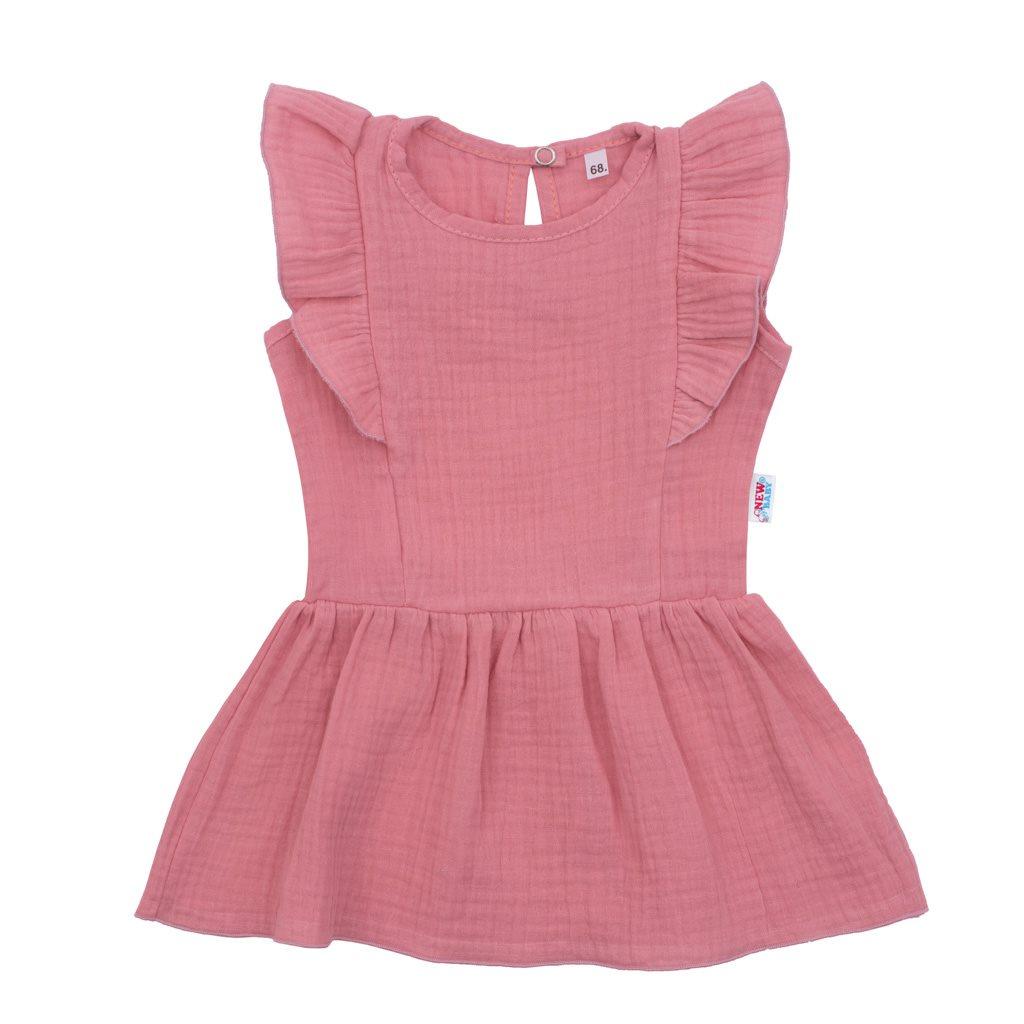 Dojčenské mušelínové šaty New Baby Summer Nature Collection ružové-80 (9-12m)