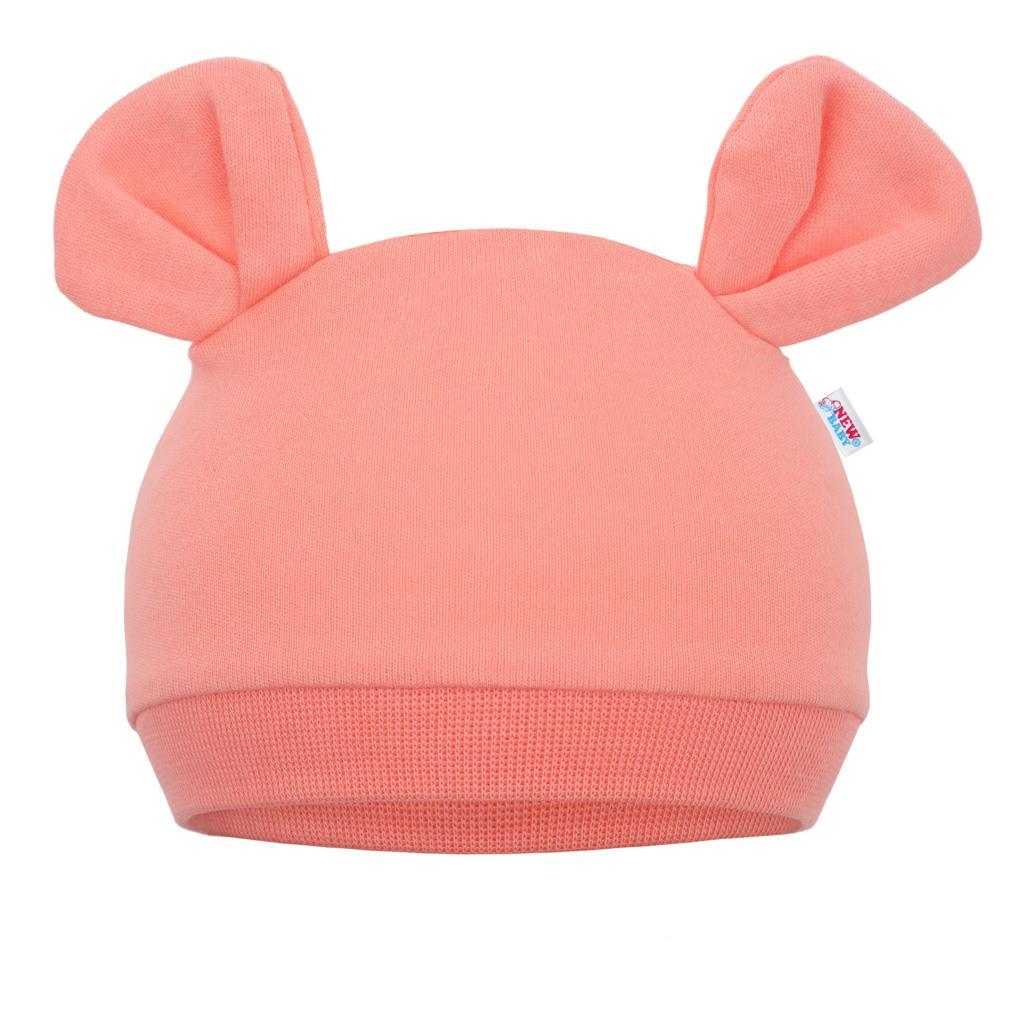 Dojčenská čiapočka New Baby Mouse lososová
