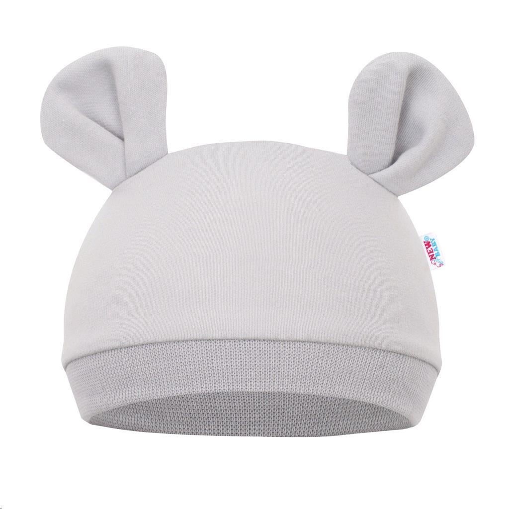 Dojčenská čiapočka New Baby Mouse sivá