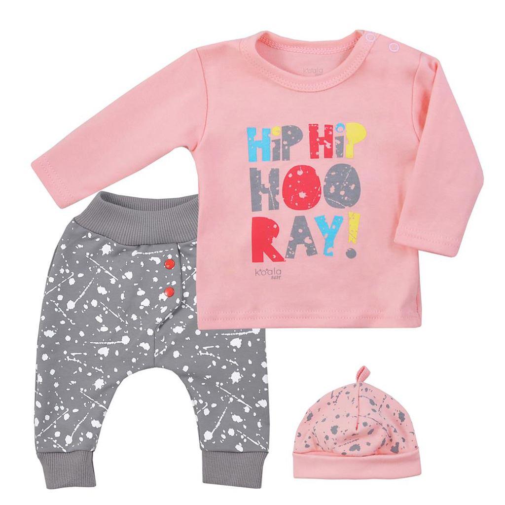 3-dielna detská súprava Koala Hip-Hip ružová-80 (9-12m)