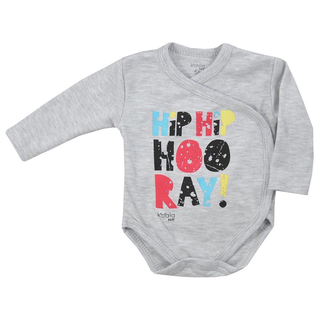 Dojčenské body celorozopínacie Koala Hip-Hip sivé-56 (0-3m)