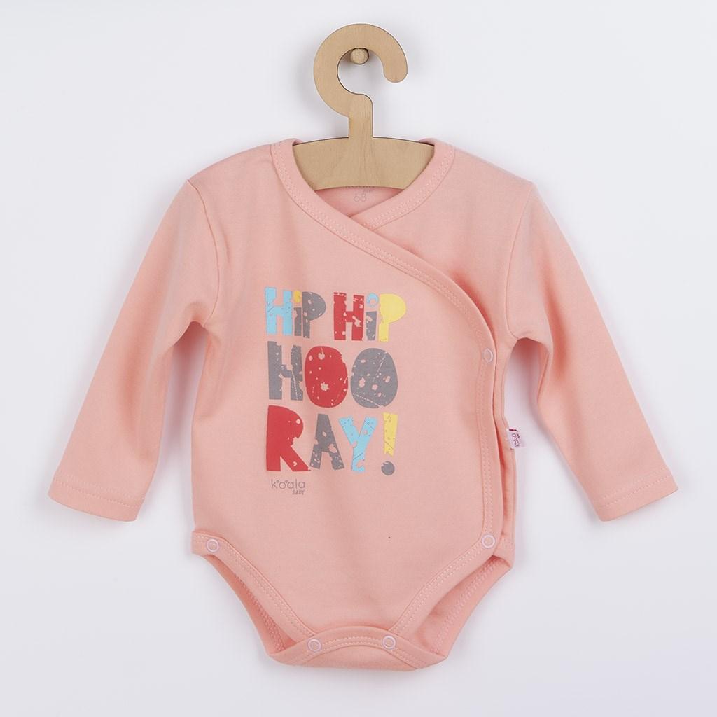 Dojčenské body celorozopínacie Koala Hip-Hip ružové-62 (3-6m)