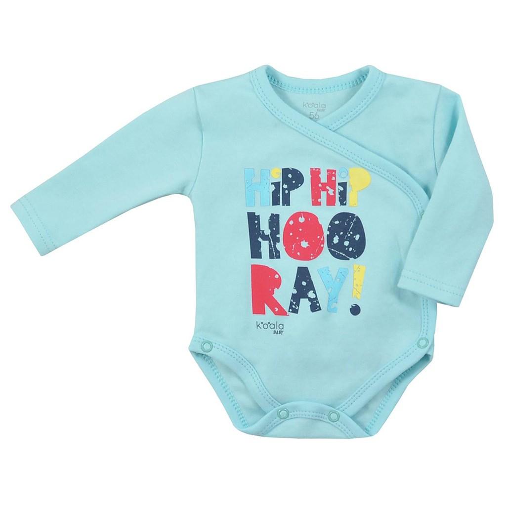 Dojčenské body celorozopínacie Koala Hip-Hip modré