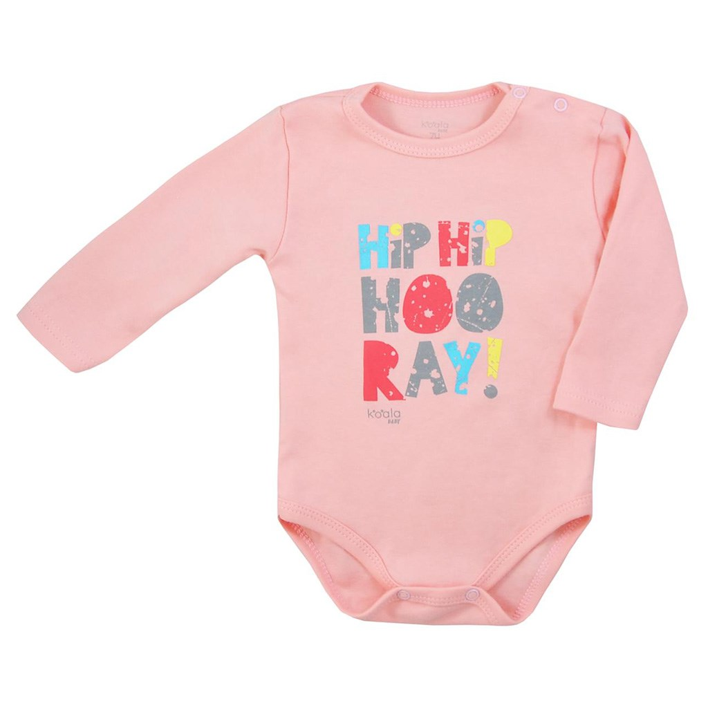 Dojčenské body s dlhým rukávom Koala Hip-Hip ružové