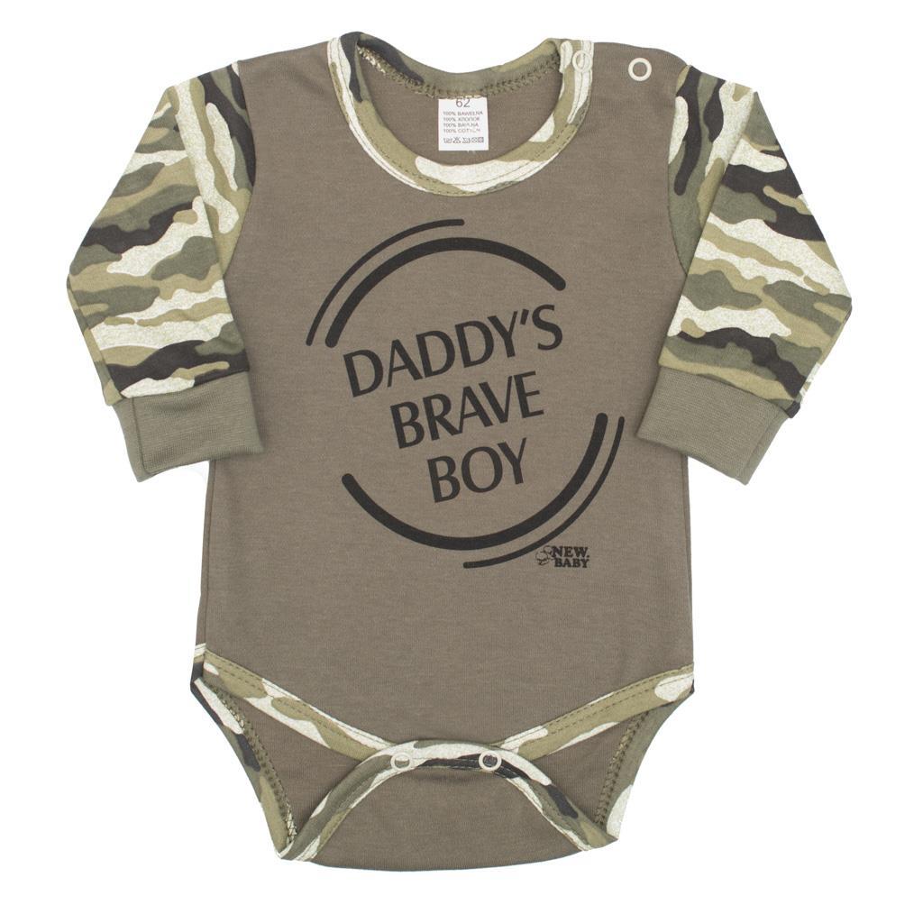 Dojčenské body s dlhým rukávom New Baby Army boy-56 (0-3m)