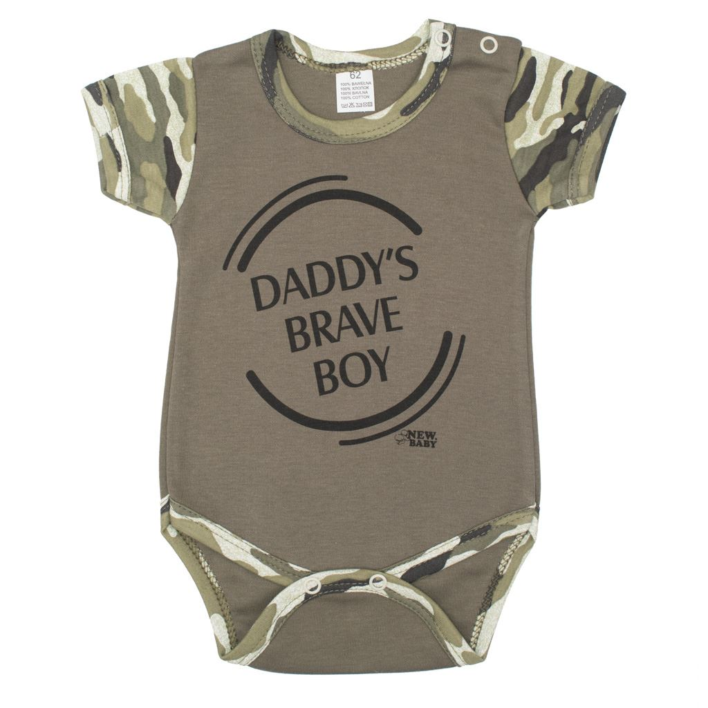 Dojčenské body s krátkym rukávom New Baby Army boy-56 (0-3m)