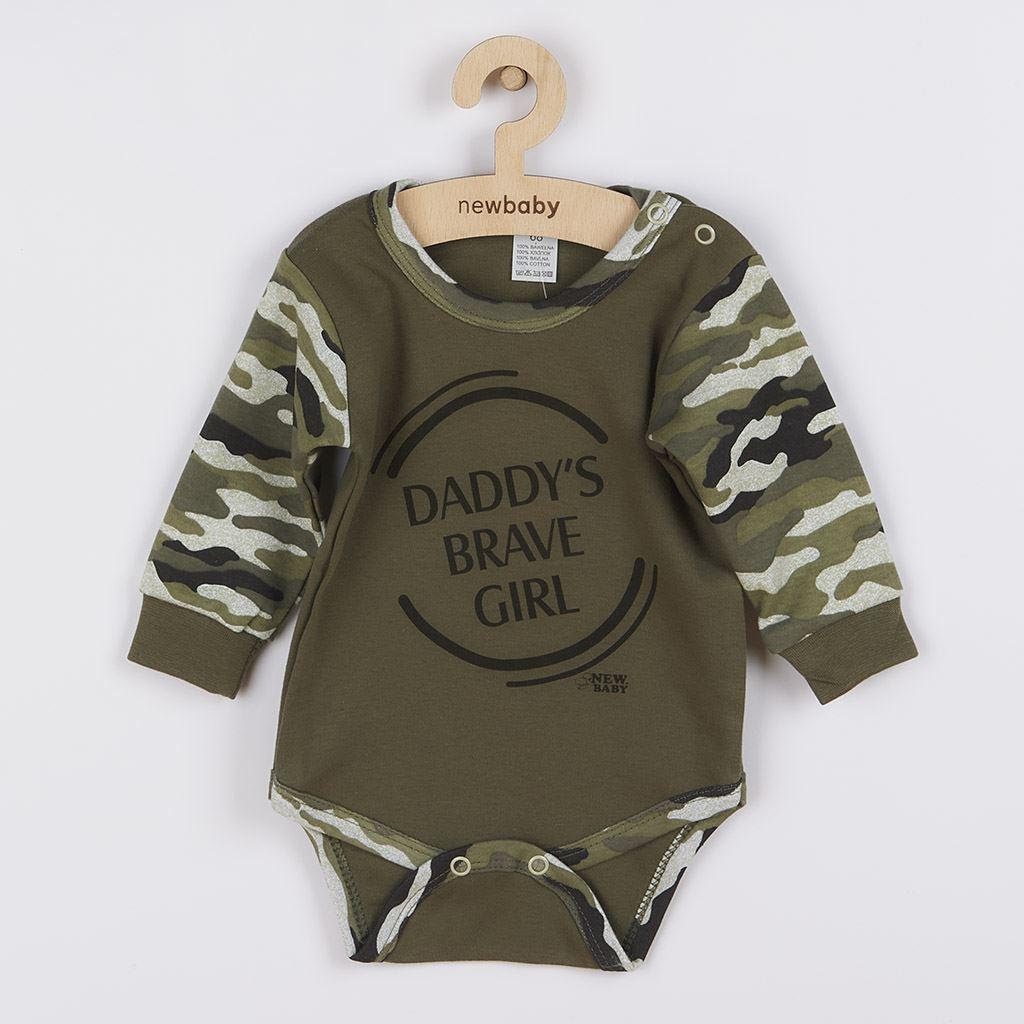 Dojčenské body s dlhým rukávom New Baby Army girl-68 (4-6m)