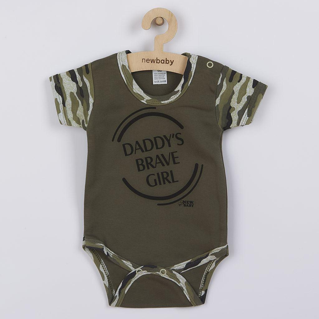 Dojčenské body s krátkym rukávom New Baby Army girl-56 (0-3m)