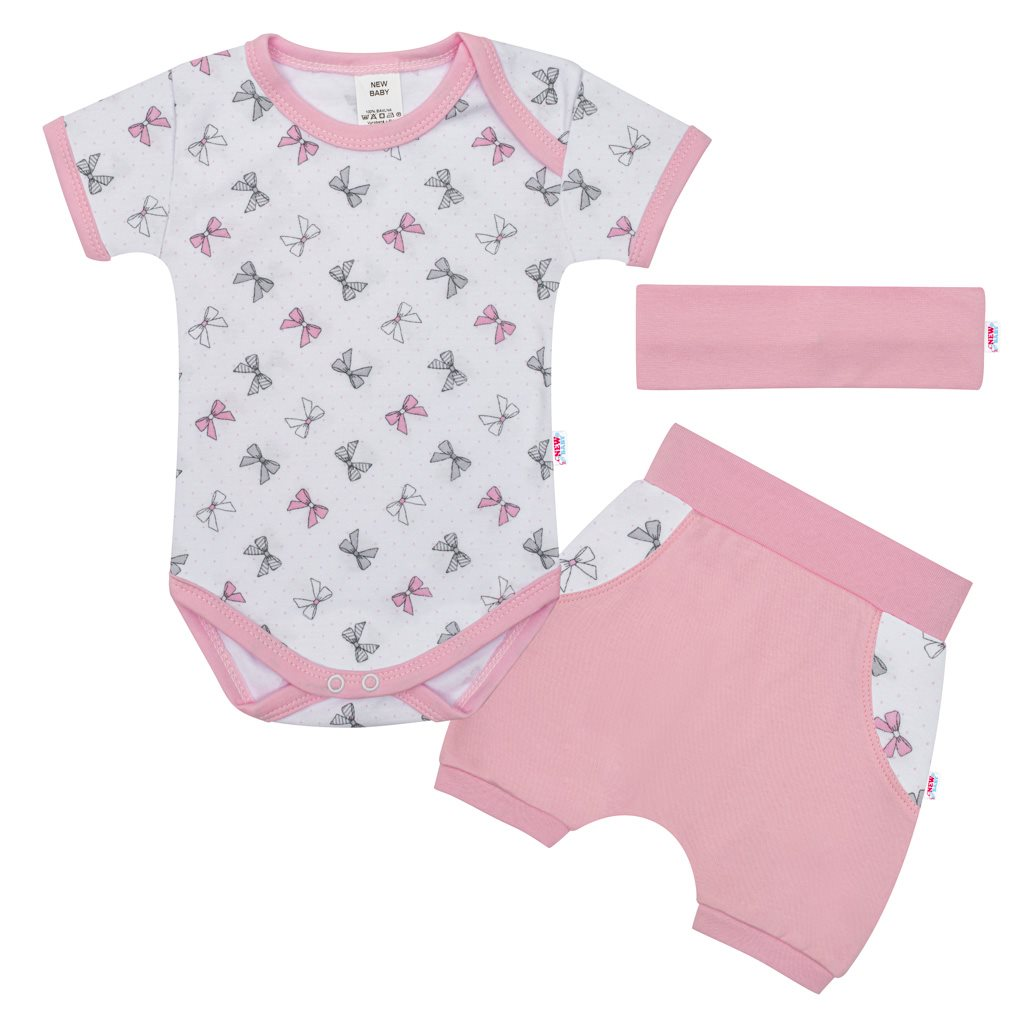 3-dielna letná bavlnená súprava New Baby Perfect Summer ružová-80 (9-12m)