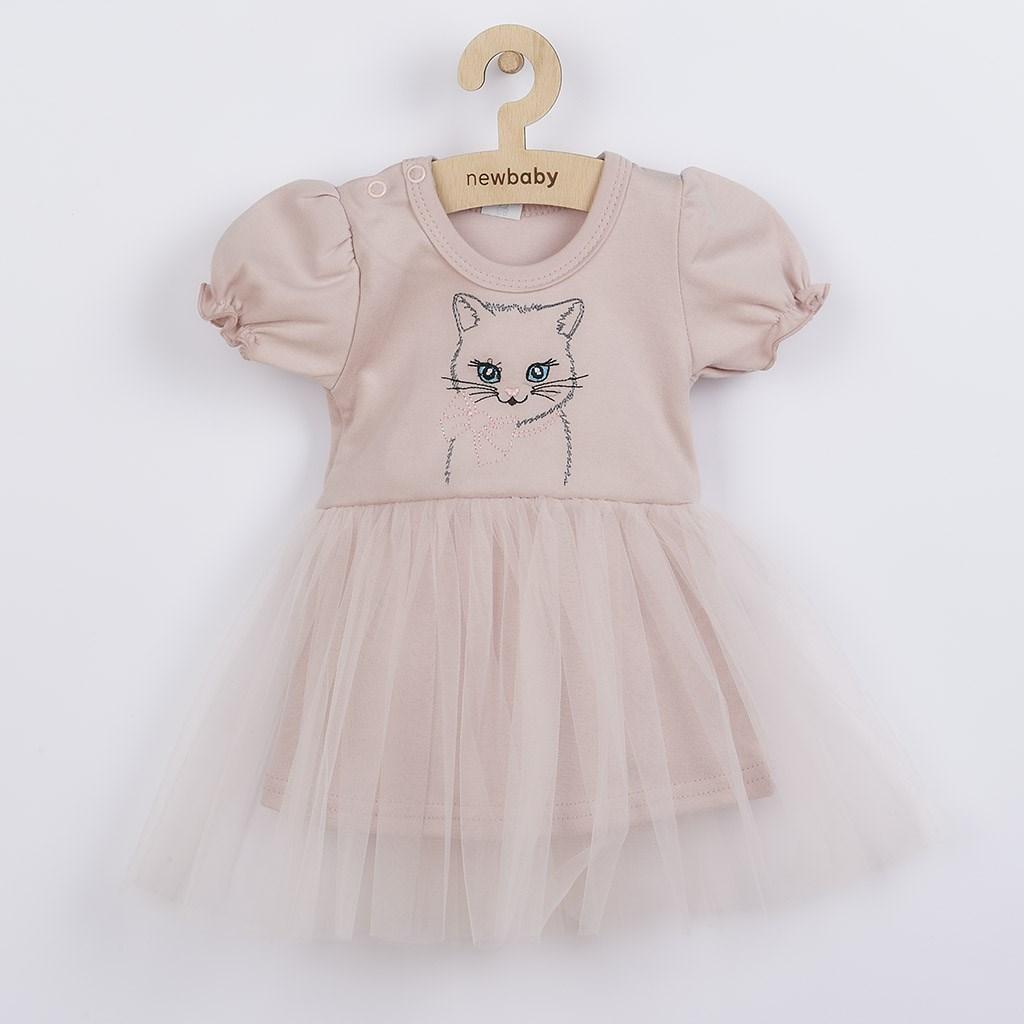 Dojčenské šatôčky s tylovou sukienkou New Baby Wonderful ružové