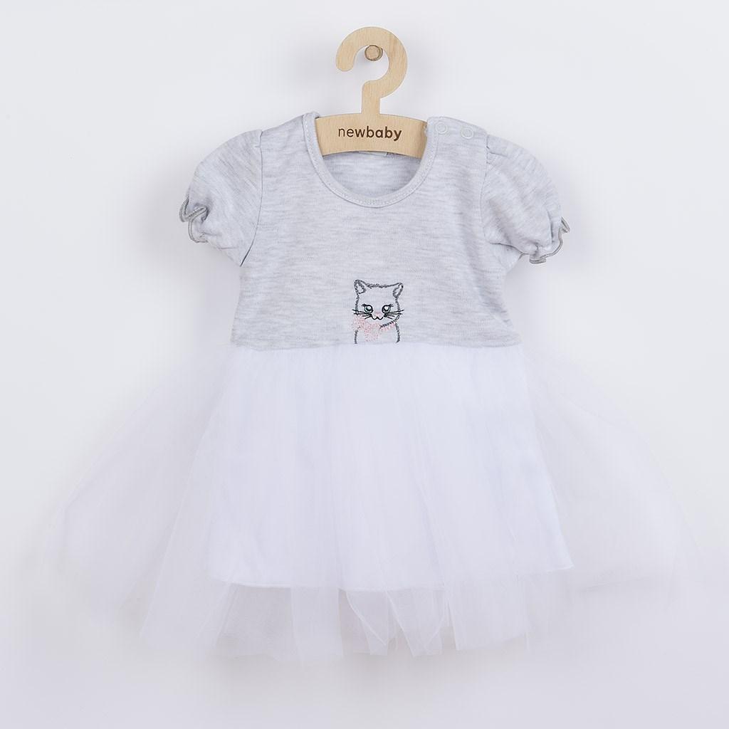 Dojčenské šatôčky s tylovou sukienkou New Baby Wonderful sivé-80 (9-12m)